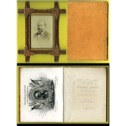 James A. Garfield Memorial Book with Memorial Engraved Card by BEP as well as Real Photo.