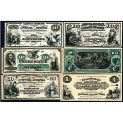 National and American Bank Note Company ca. 1860-70's Counterfeit Detector U.S. Banknotes Group of 9