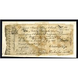 Virginia James River Bank, Sept.1, 1775 Issue Banknote.