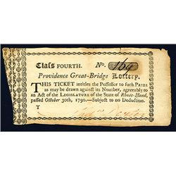 Providence Great-Bridge Lottery, 1790 Ticket.