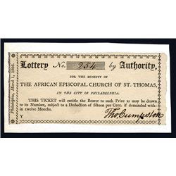 African Episcopal Church of St. Thomas in the City of Philadelphia, 1805 Lottery Ticket.