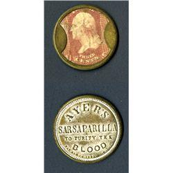 Ayer's Sarsaparilla 3 Cents Stamp Encased Postage.