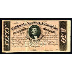 California, New York European Steamship Co. $50 Coupon or Scrip Note.