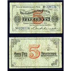 Colorado Supply Co., 1905 Issued Scrip Note.