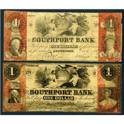 Southport Bank Issued Obsolete Banknote Pair.