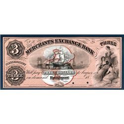 Merchants Exchange Bank, 1850's Issue color Proof Obsolete Banknote.