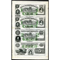 Bank of New England at Goodspeed's Landing 1850-60's Uncut Obsolete Remainder Sheet of 4 Notes.