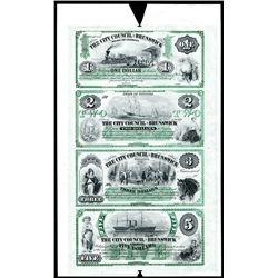 City Council of Brunswick, Uncut 1859-60's Sheet of 4 notes, Untrimmed Production Specimen Printed i