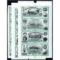 City Council of Brunswick, Uncut 1859-60's Dealer's Lot of 3 Sheets, Untrimmed Production Specimen P