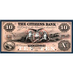Citizens Bank, 1850's Issue Obsolete Banknote Proof