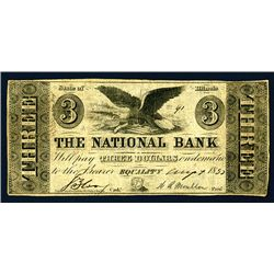 Equality, IL- The National Bank, Spurious, $3, August 7, 1852.