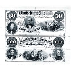 Bank of the State of Indiana Uncut Sheet of 2 Proprietary Proofs.