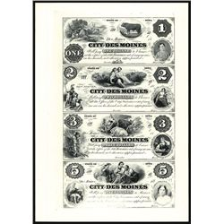 City of Des Moines, Uncut Sheet of 4 Proprietary Proofs.