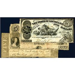 Bank of Louisiana and State Issue Trio of Obsoletes.