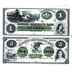 Farmers and Merchants Bank Uncut Sheet of 2 Proofs.
