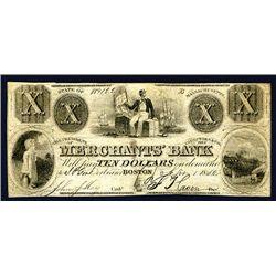 Boston, MA- Merchants' Bank $10, 1852.
