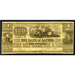 Lapeer, MI- The Bank of Lapeer, $2, Dec. 20, 1837.
