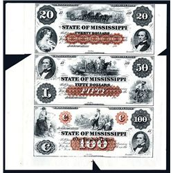 State of Mississippi Uncut Sheet of 3 Proofs.