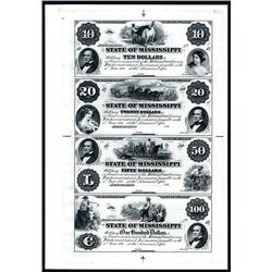 State of Mississippi Uncut Proprietary Proof Sheet of 4.