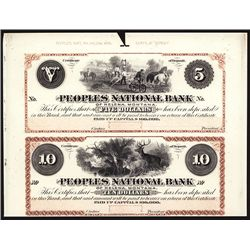 Peoples National Bank of Helena Montana (Territory) Uncut Sheet of 2 Proprietary Proofs.