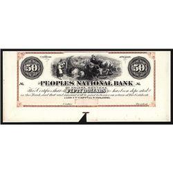 Peoples National Bank of Helena Montana (Territory) $50 Proprietary Proofs.
