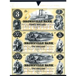 Brownville Bank Uncut Sheet of 3 Proprietary Proofs.