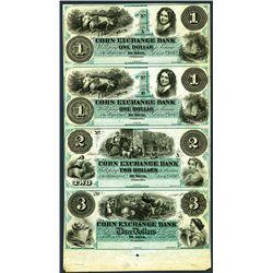 Corn Exchange Bank, 1860 Uncut Obsolete Sheet of 4 In Green.