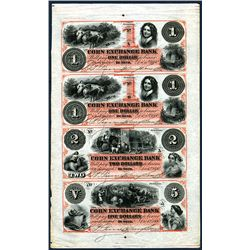 Corn Exchange Bank, 1860 Uncut Partially Issued Obsolete Sheet of 4 In Orange-red.