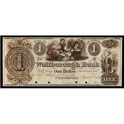 Wolfborough Bank, 1839 Issue Obsolete Color Specimen in Brown.