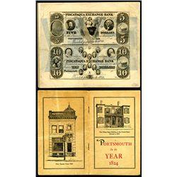 Piscataqua Exchange Bank 1840's Uncut remainder Sheet Mounted in ca.1940-50's Banking Booklet.