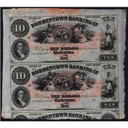 Bordentown Banking Co. ca. 1850-60's Uncut Sheet of 2 Notes.
