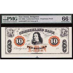 Cumberland Bank $10 Proprietary Proof.
