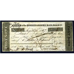 Office of Morris & Essex Rail Road Co. 1837 Post Note Obsolete Banknote.