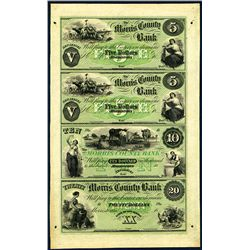 Morris County Bank, Uncut Sheet of 4, 1858-60's Full Tint Unissued Banknotes.