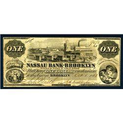 Nassau Bank of Brooklyn, $1 Issued Obsolete Banknote.