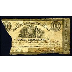 """New York & Schuylkill Coal Company, 1837 Obsolete Currency """"Look Alike"""" Stock Certificate."""