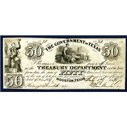 """Government of Texas, 1838 """"Sam Houston"""" Issue Obsolete Banknote."""