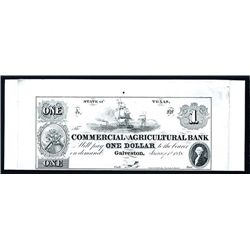 Commercial and Agricultural Bank 1848 (ca. 1960-70) Proprietary Proof.