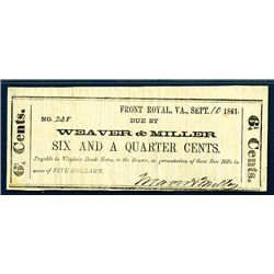 Weaver & Miller, 6 1/4 cent 1861 Scrip Note from Front Royal.