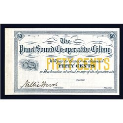 Puget Sound Co-operative Colony, ca. 1887 Washington Territorial Fractional Scrip Note.