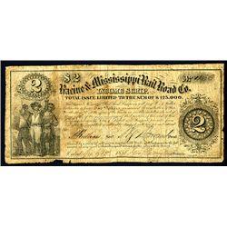 Racine & Mississippi Rail Road Co., 1858 Income Scrip Obsolete Banknote.