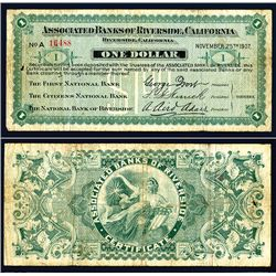 Associated Banks of Riverside, California, 1907 Panic Scrip.