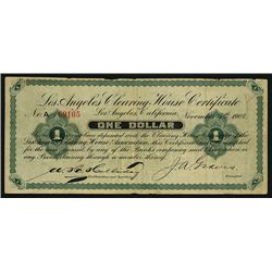 Los Angeles Clearing House Certificate, 1907 Depression or Panic Scrip Note.