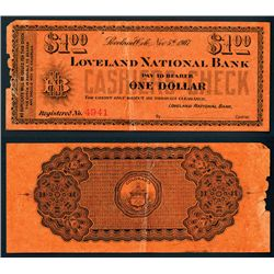 Loveland, Colorado 1907 Panic Currency or Scrip Note.