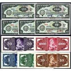 City of Detroit, 1934 Depression Scrip Specimen Set of 5 Including $1000 Denomination.