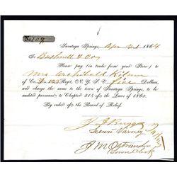 Civil War, 1864 Board of Relief Payment Voucher.