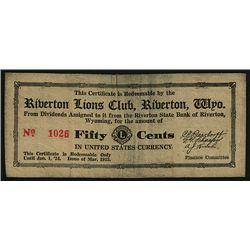 Riverton Lions Club, Indian Tan Buckskin Leather 1933 Depression Scrip.