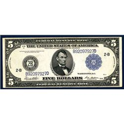 U.S. Federal Reserve Note, NY, $5, Series of 1914, Issued Banknote.