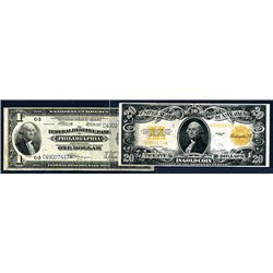 U.S. Gold Note, 1922, $20, Fr.1187 and F.R.N., National Currency, Philadelphia, $1, Fr.717.