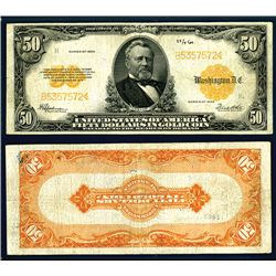 U.S. Gold Certificate, $50, 1922 Fr#1200 Large S/N Issued Banknote.